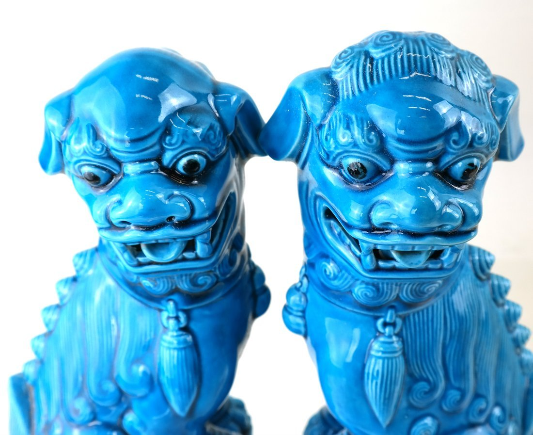 Pair Chinese Turquoise Glazed Foo Lions - 4