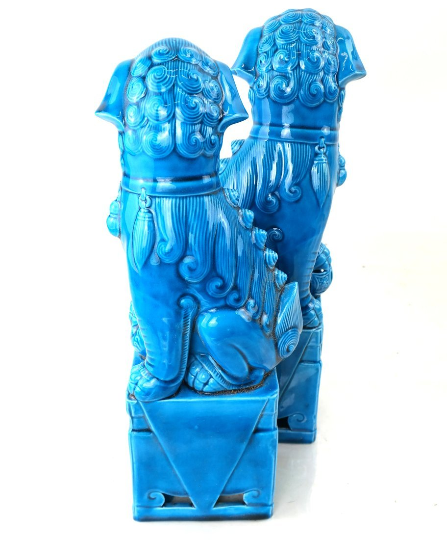 Pair Chinese Turquoise Glazed Foo Lions - 5