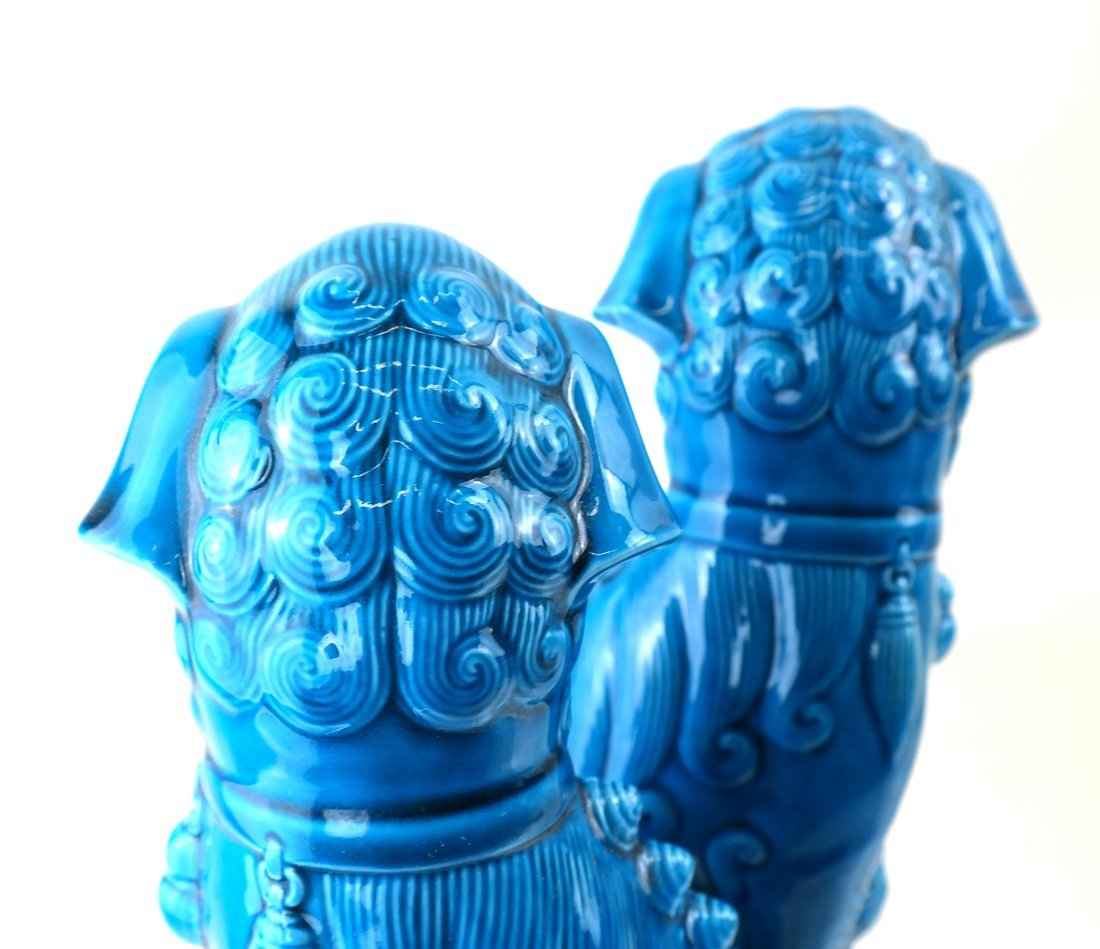 Pair Chinese Turquoise Glazed Foo Lions - 6