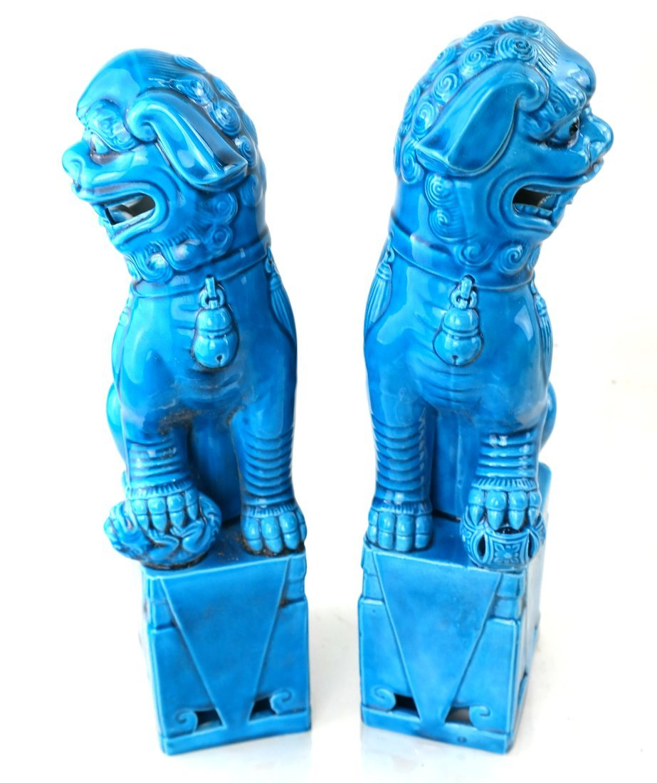 Pair Chinese Turquoise Glazed Foo Lions - 7