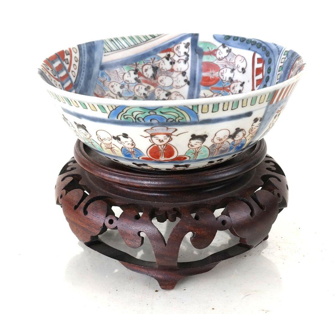 Chinese Imari Porcelain Bowl & a Stand