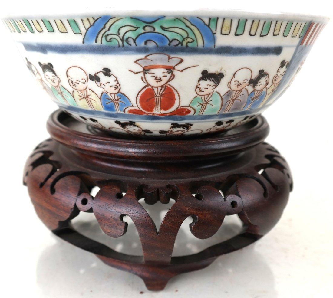 Chinese Imari Porcelain Bowl & a Stand - 2