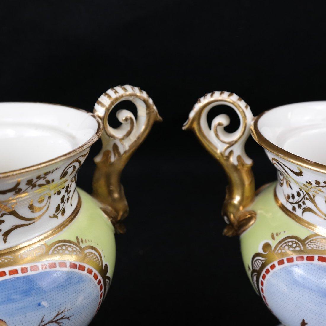 Pair Paris Porcelain Two-Handled Vases - 2