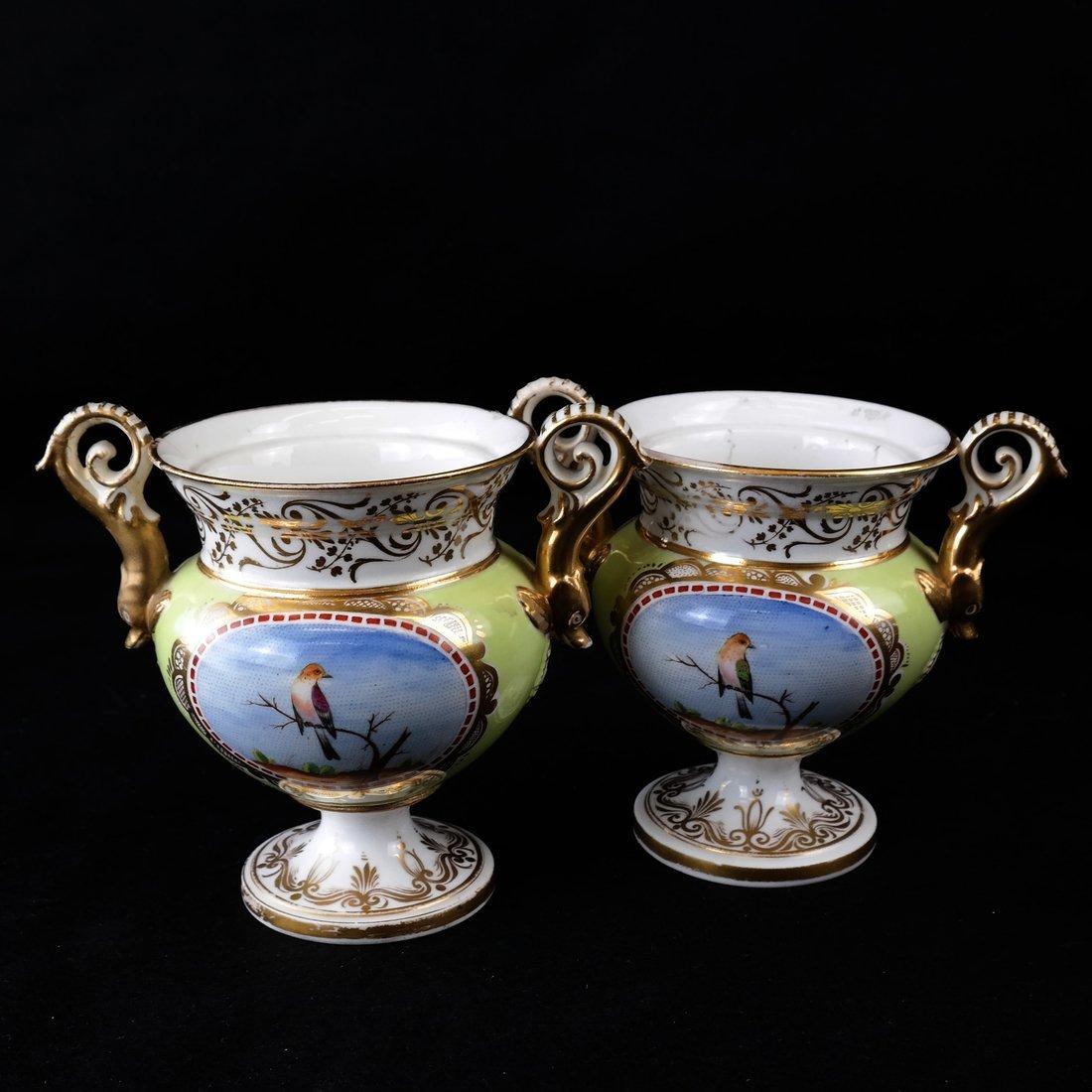 Pair Paris Porcelain Two-Handled Vases - 6