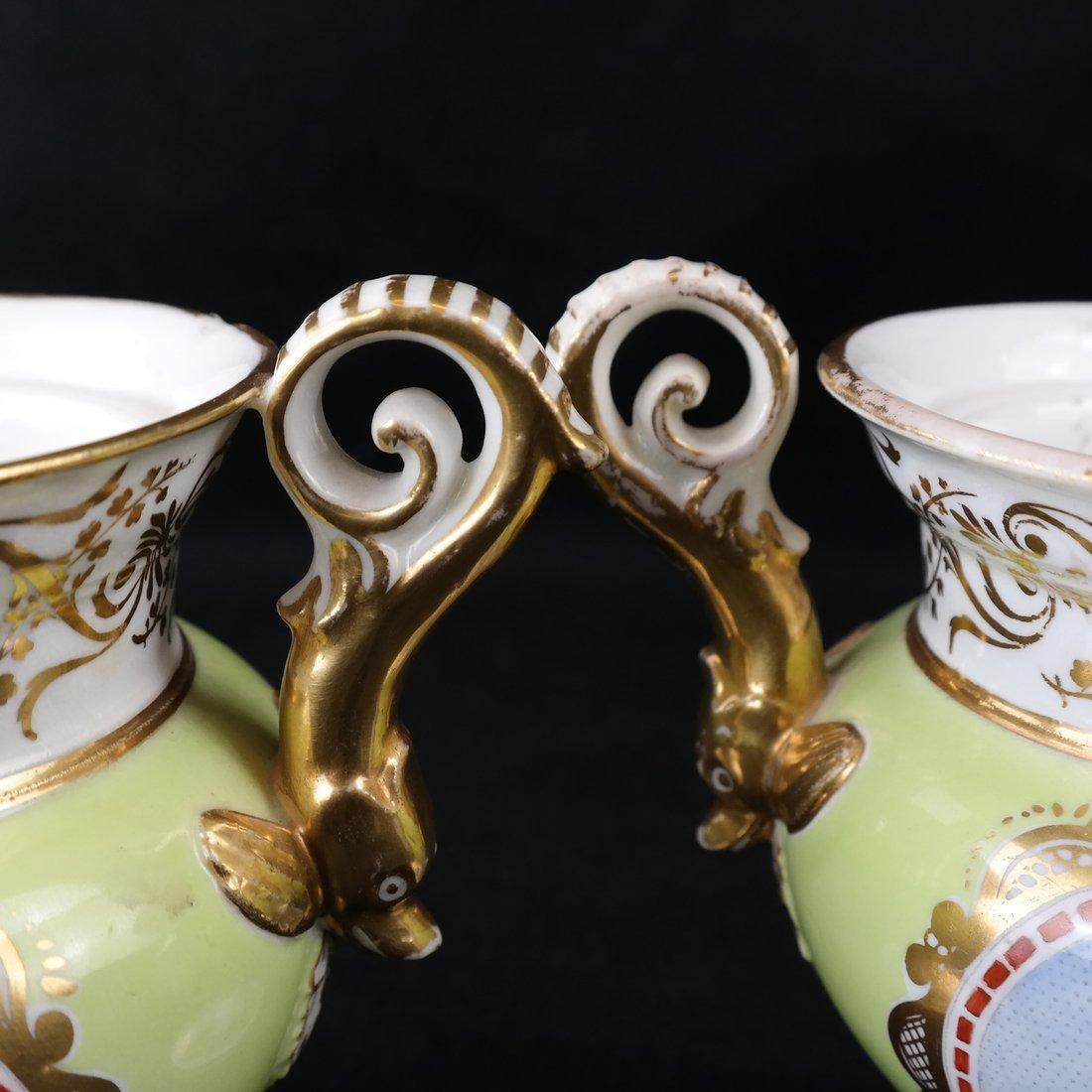 Pair Paris Porcelain Two-Handled Vases - 8