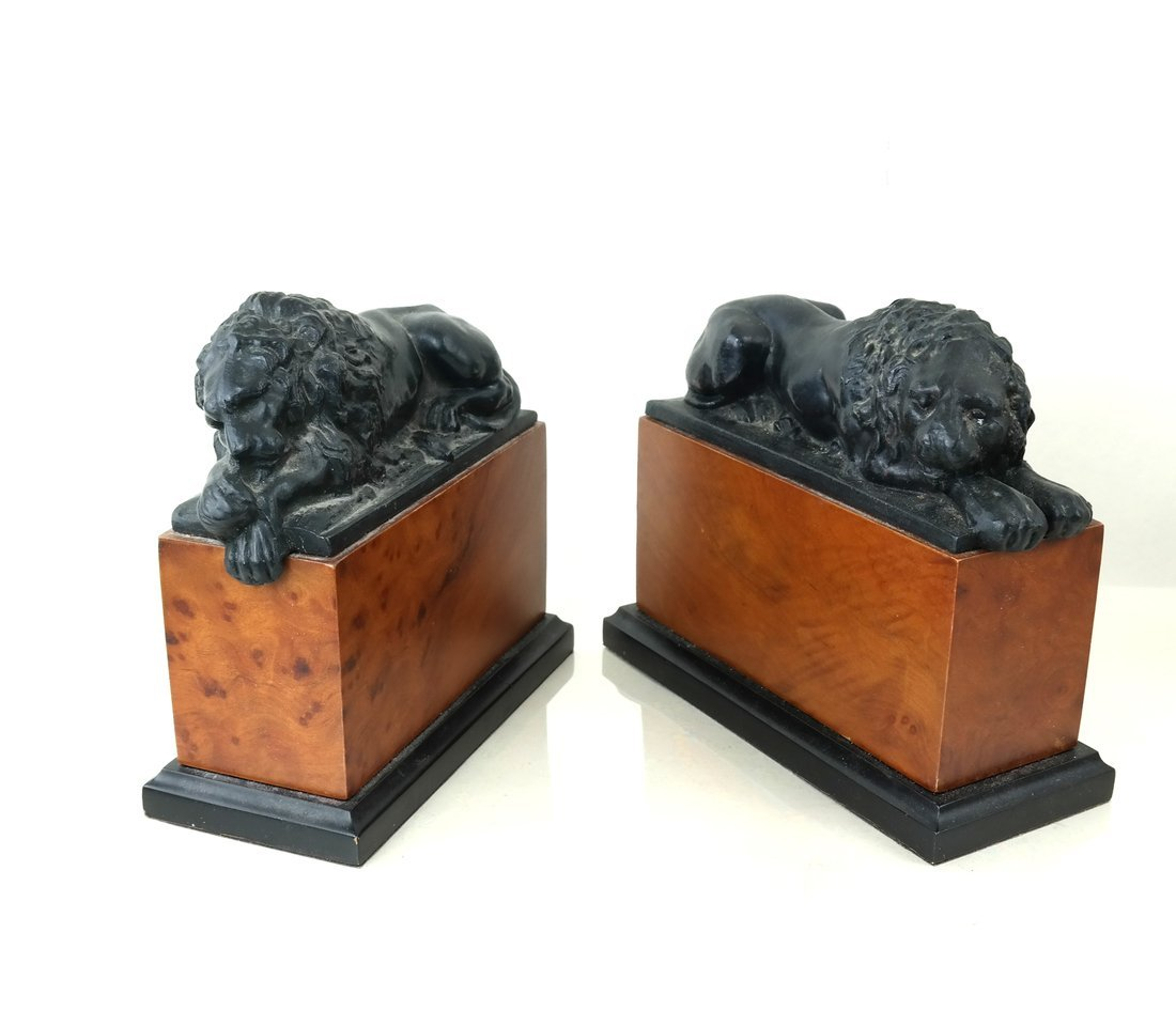 Pair of Recumbent Lion Bookends
