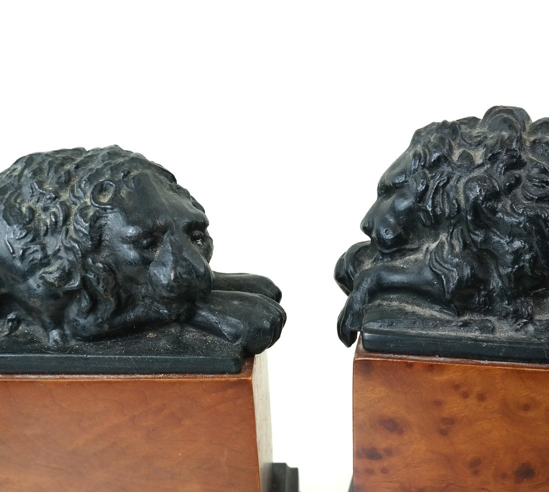 Pair of Recumbent Lion Bookends - 2