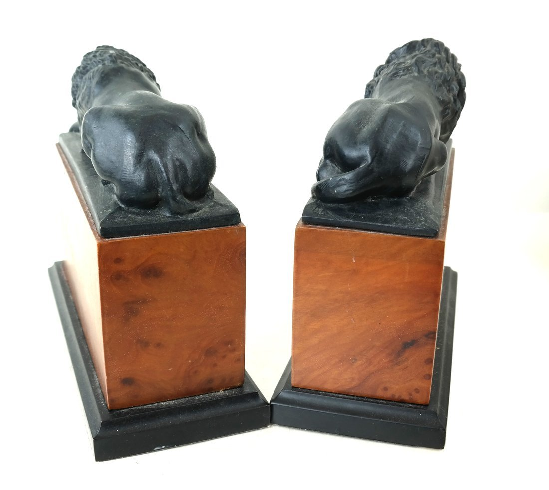 Pair of Recumbent Lion Bookends - 3