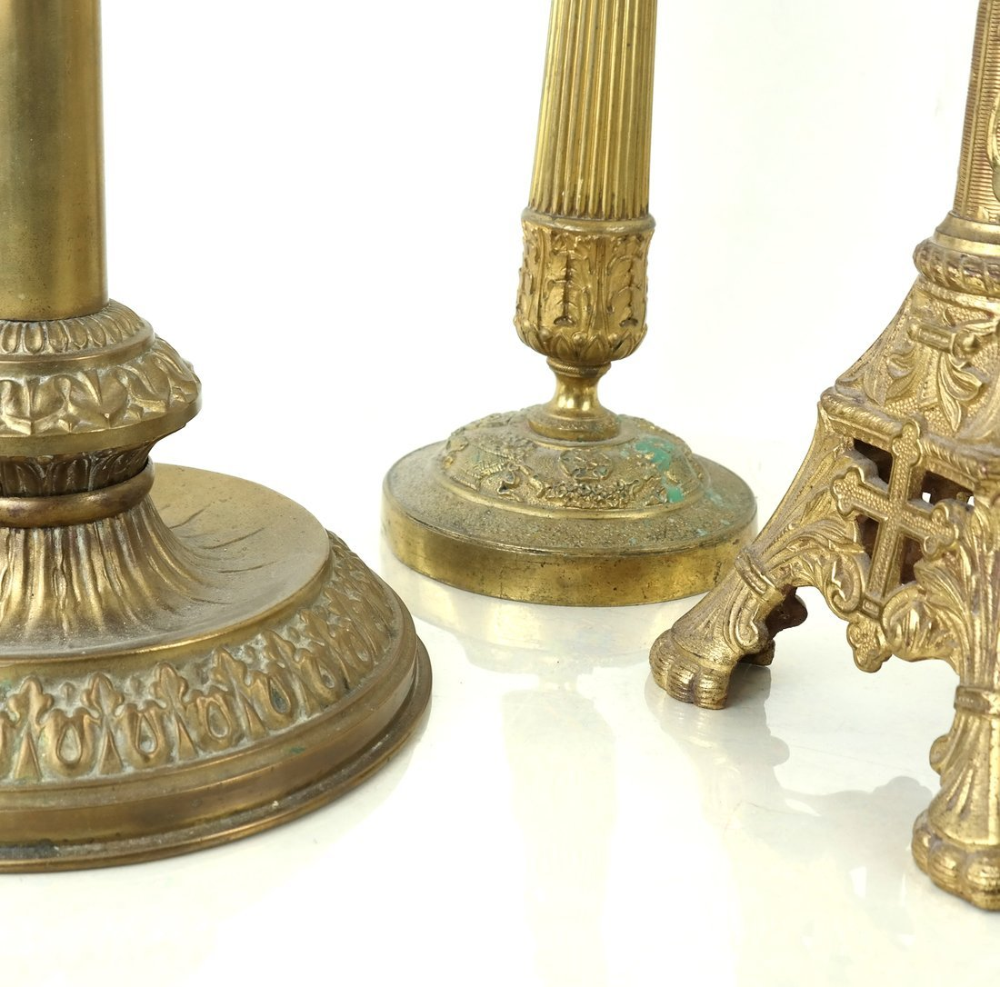 Three Brass Candlesticks - 3