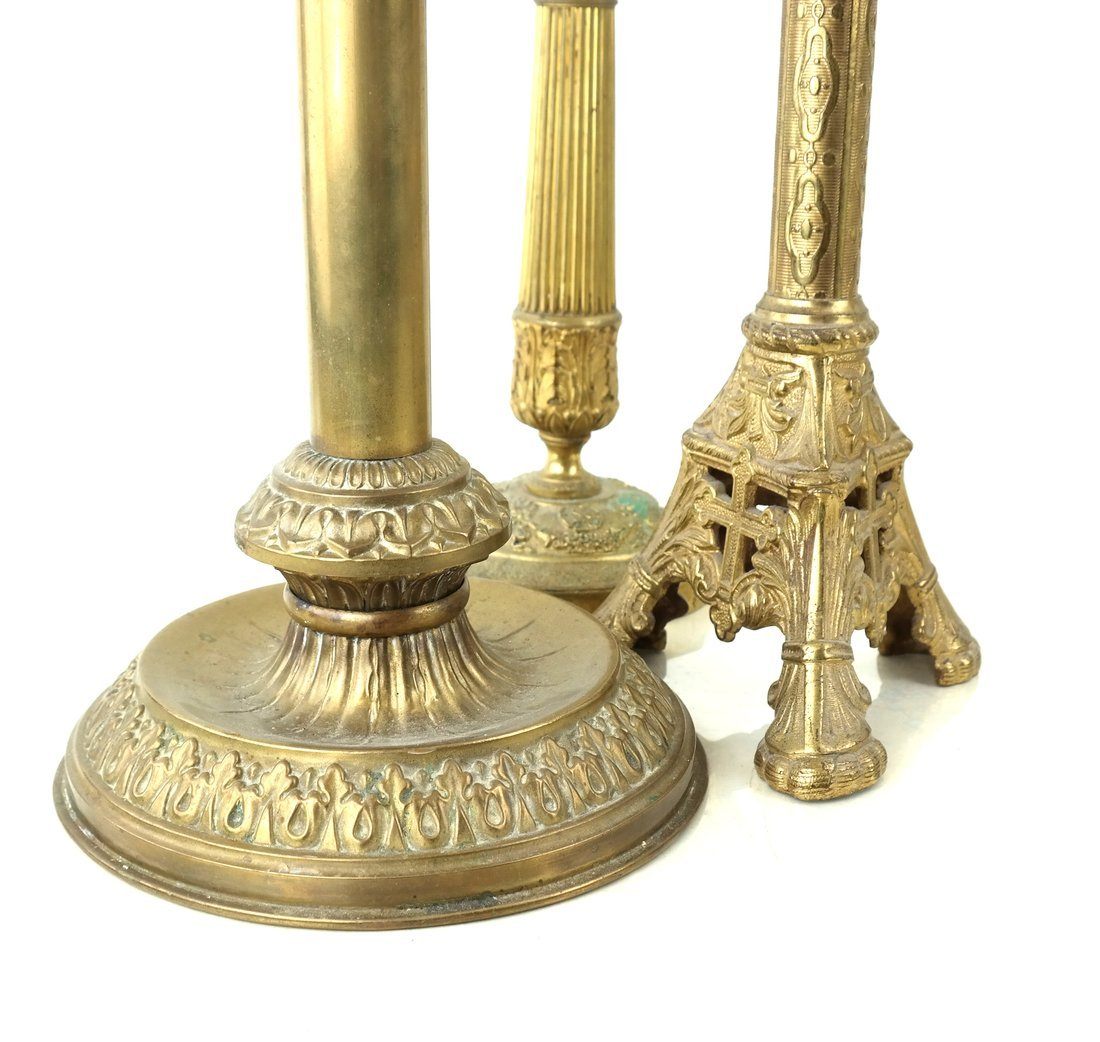 Three Brass Candlesticks - 4