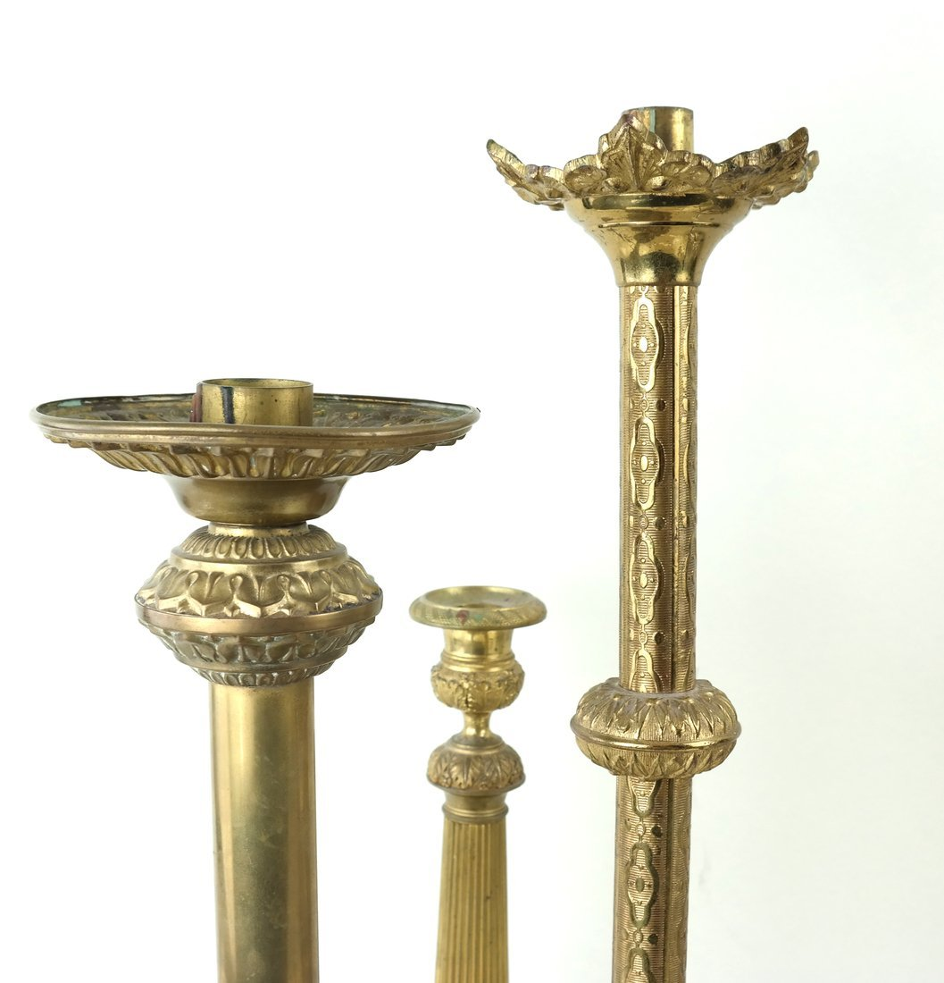 Three Brass Candlesticks - 5