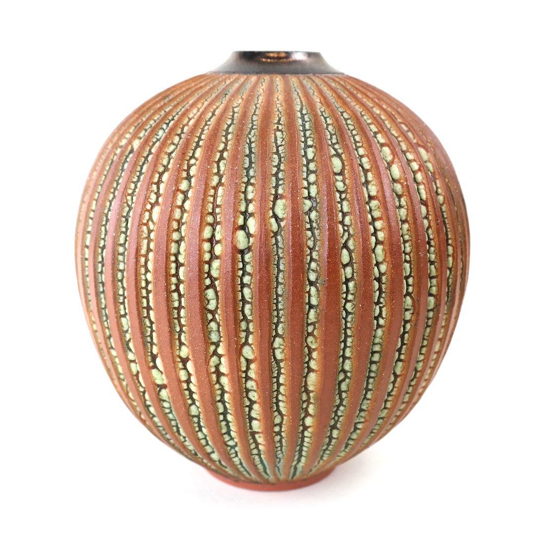 A Ceramic Ribbed Vase
