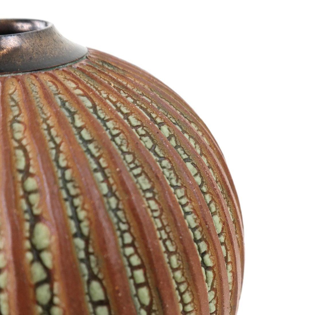 A Ceramic Ribbed Vase - 4