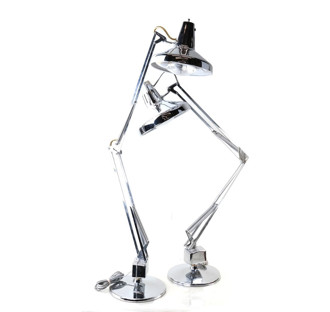 Two Modern Chrome Lamps
