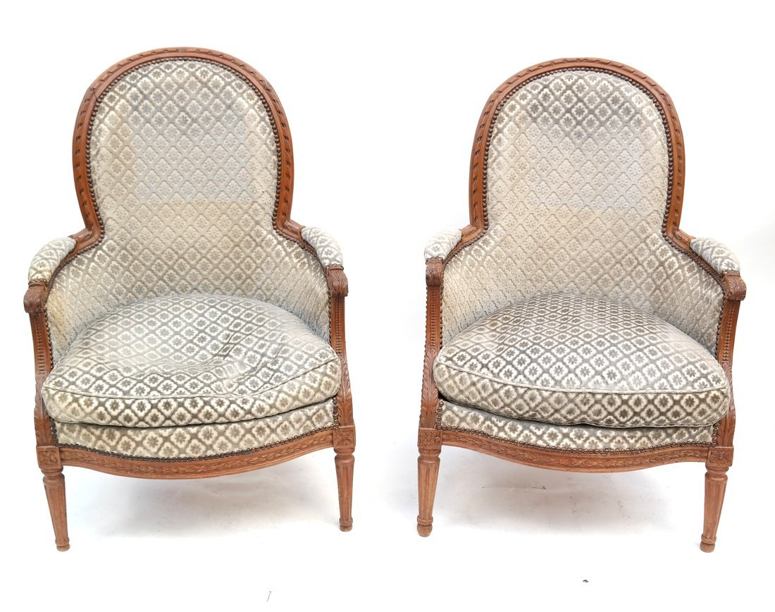 Pair of Louis XVI- Style Bergeres
