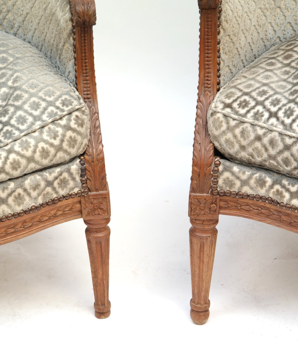 Pair of Louis XVI- Style Bergeres - 2