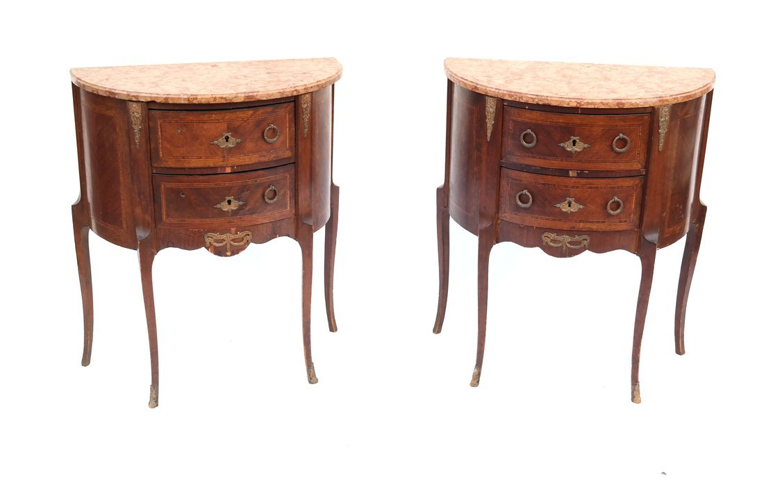 Pair Louis XV-Style Marble Top Commodes