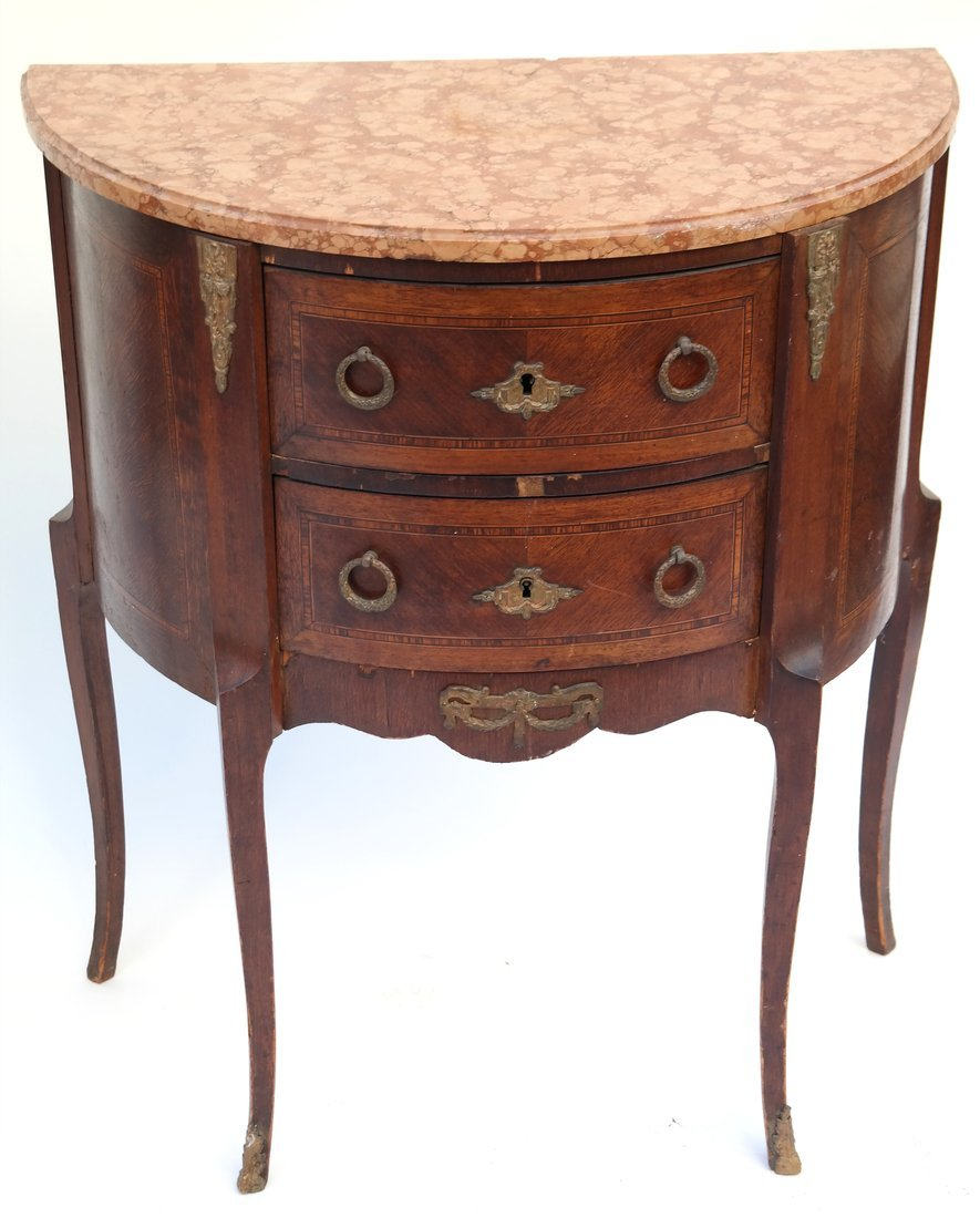 Pair Louis XV-Style Marble Top Commodes - 2