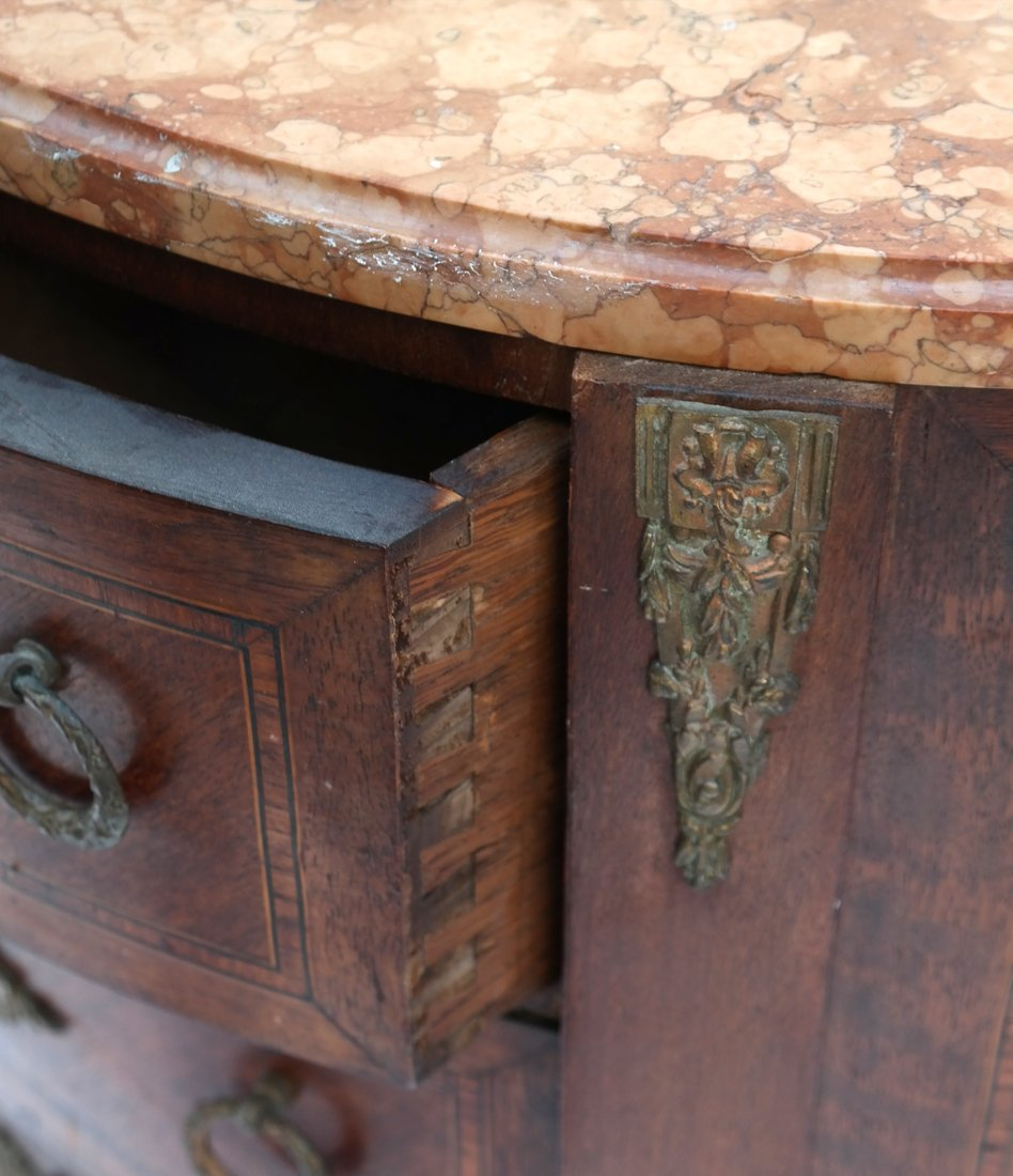 Pair Louis XV-Style Marble Top Commodes - 4