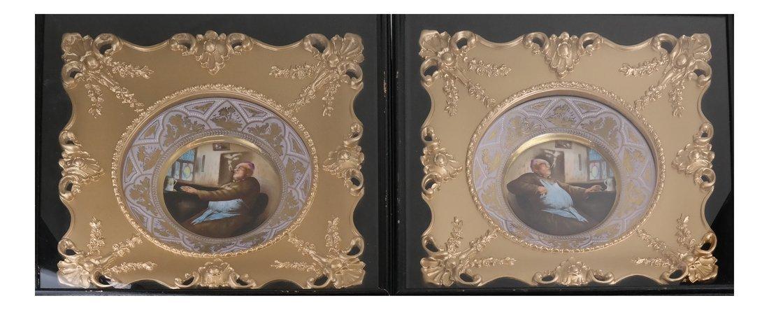 2 Vienna Style Porcelain Framed Plates