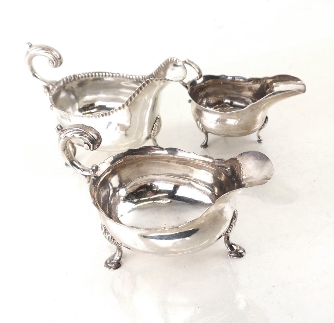 Three Sterling Various Sauce Boats
