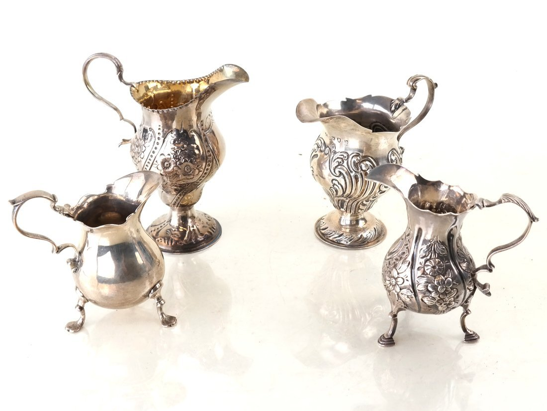 Four Georgian Sterling Creamers