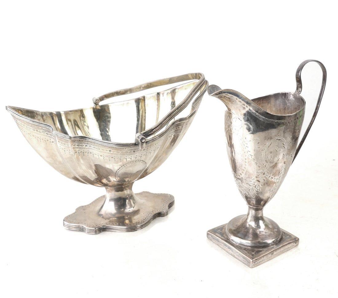 George III Silver Sugar Basket & Creamer