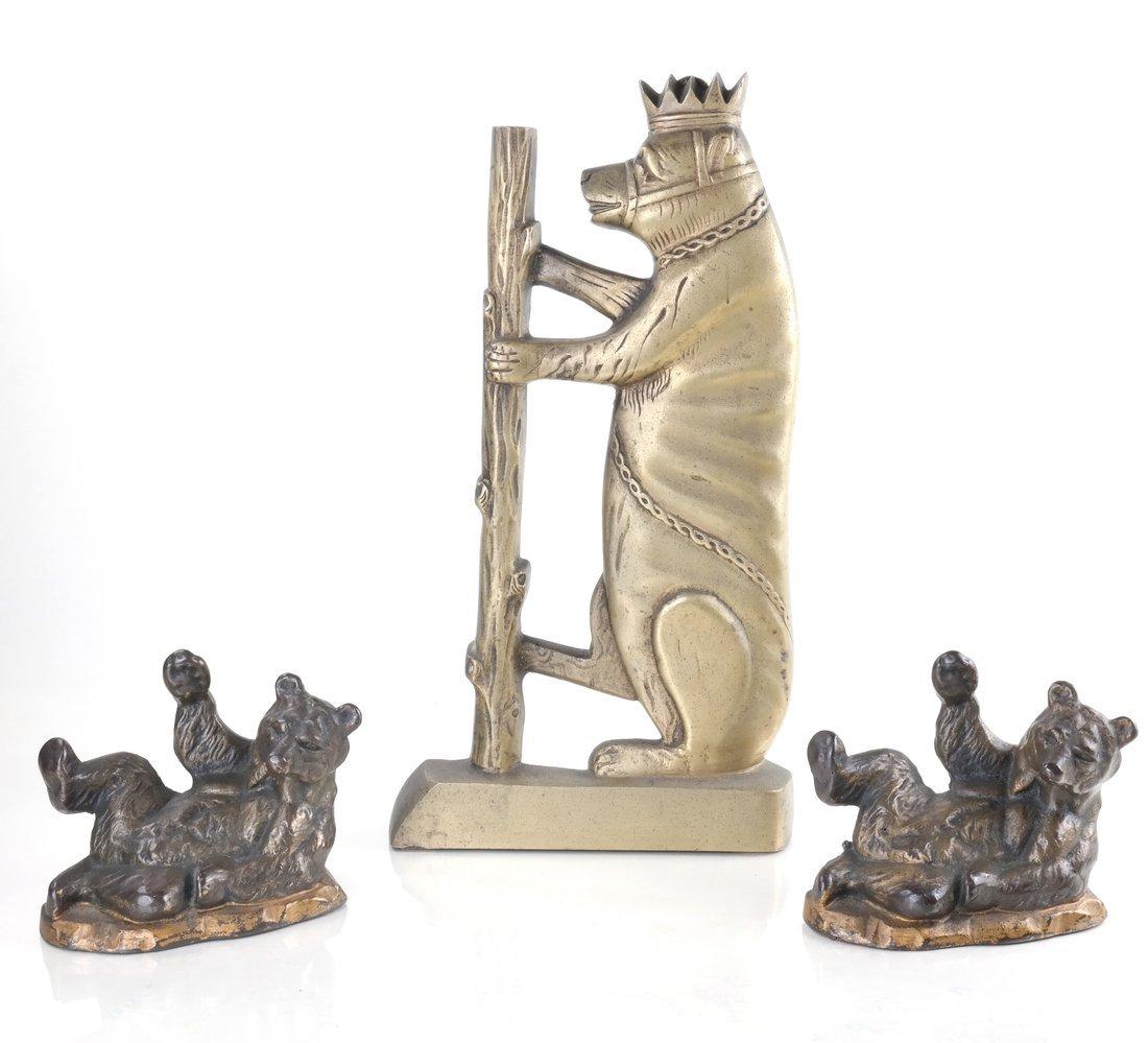Three Cast Metal Bear Figures
