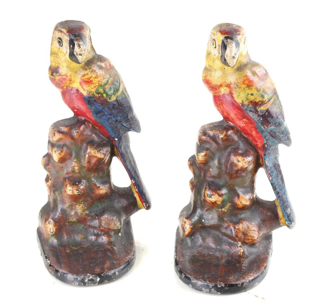 Five Painted Cast Iron Bird Bookends - 10