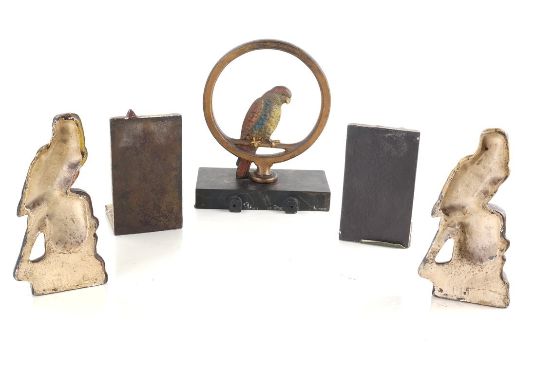 Five Painted Cast Iron Bird Bookends - 3