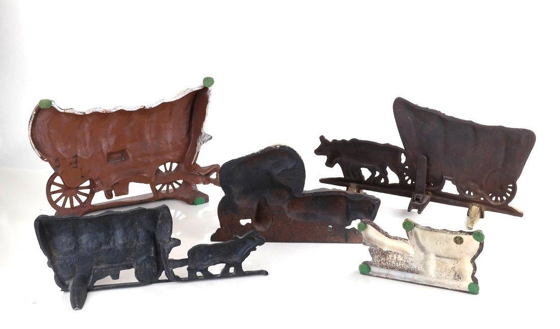 Five Painted Cast Iron Wagon Doorstops - 3
