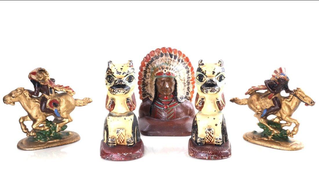 Five Cast Iron Native American Items