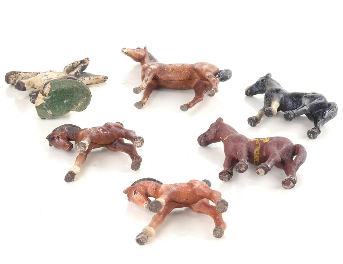 Six Painted Cast Iron Animal Party Favors - 6