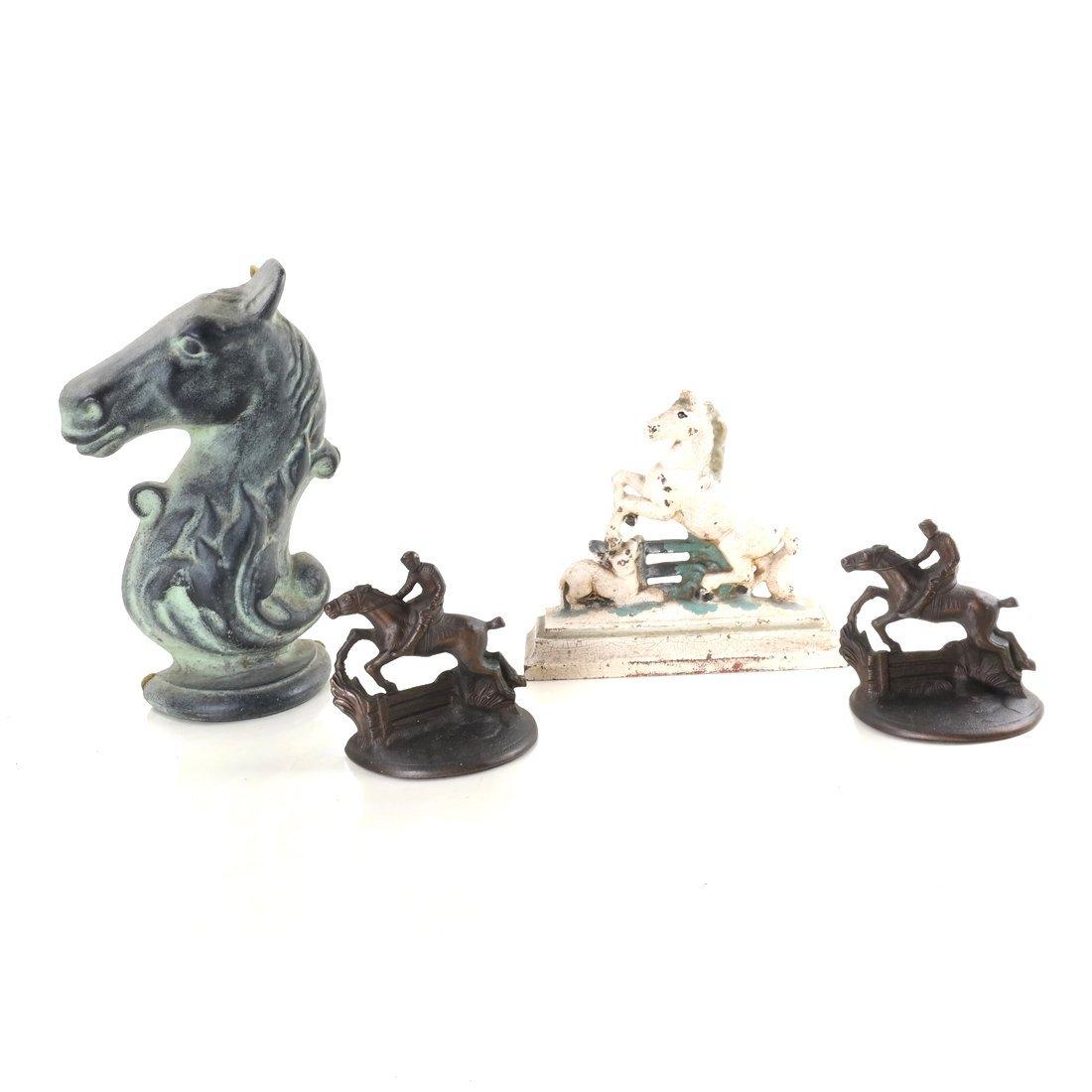 Four Cast Iron Horse Figures