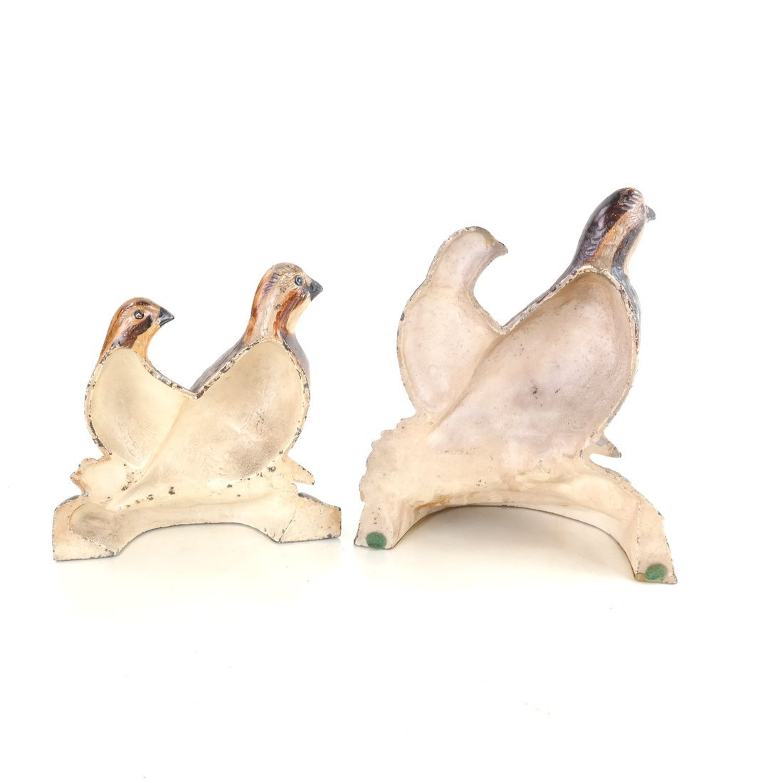 Two Painted Cast Iron Quail Doorstops - 2