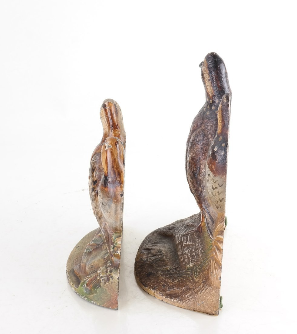 Two Painted Cast Iron Quail Doorstops - 4