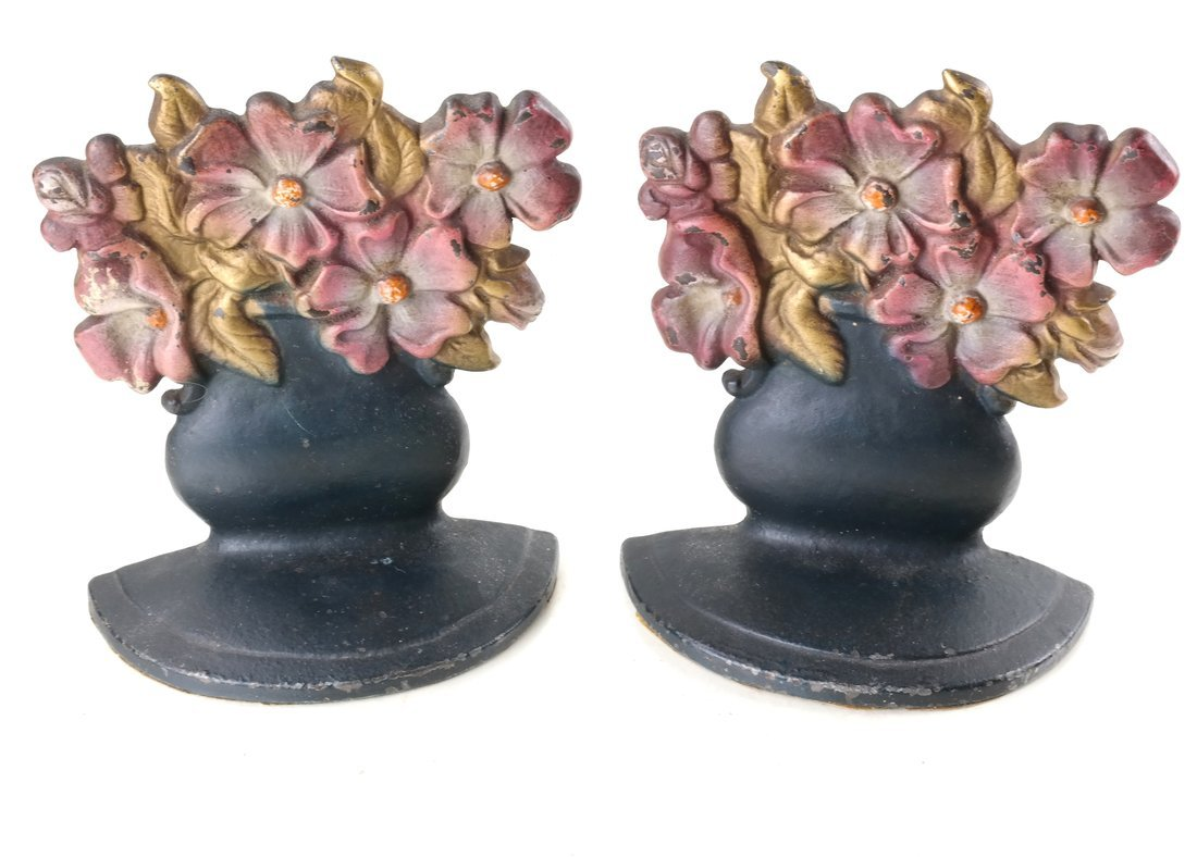 Six Painted Cast Iron Floral Bookends - 10