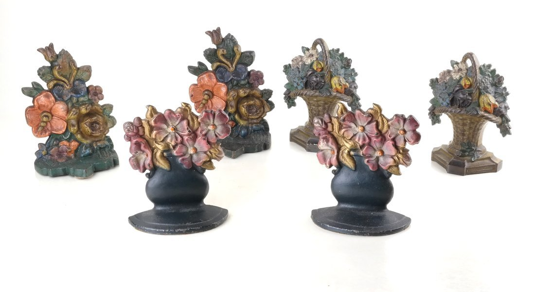 Six Painted Cast Iron Floral Bookends