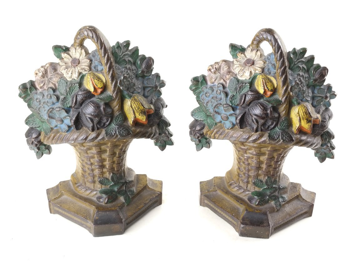 Six Painted Cast Iron Floral Bookends - 2