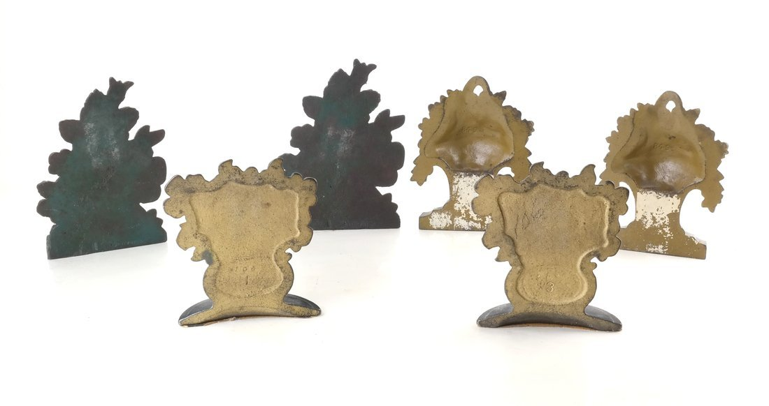 Six Painted Cast Iron Floral Bookends - 4