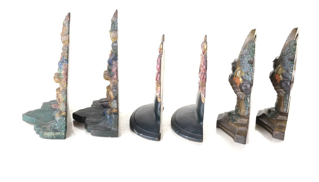 Six Painted Cast Iron Floral Bookends - 5