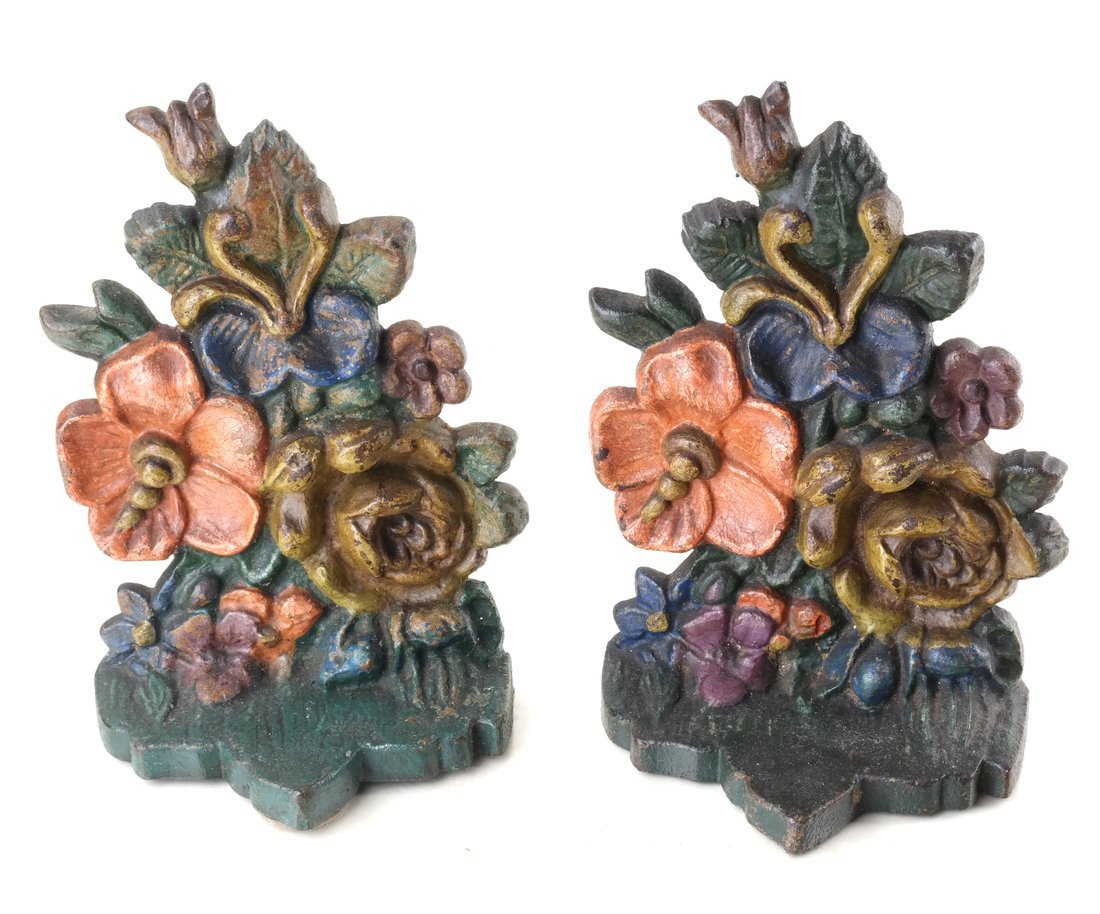 Six Painted Cast Iron Floral Bookends - 8