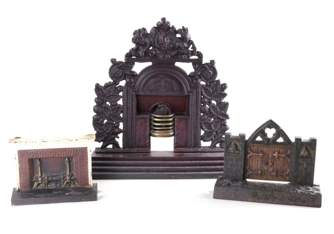 Three Cast Metal Architectural Bookends/