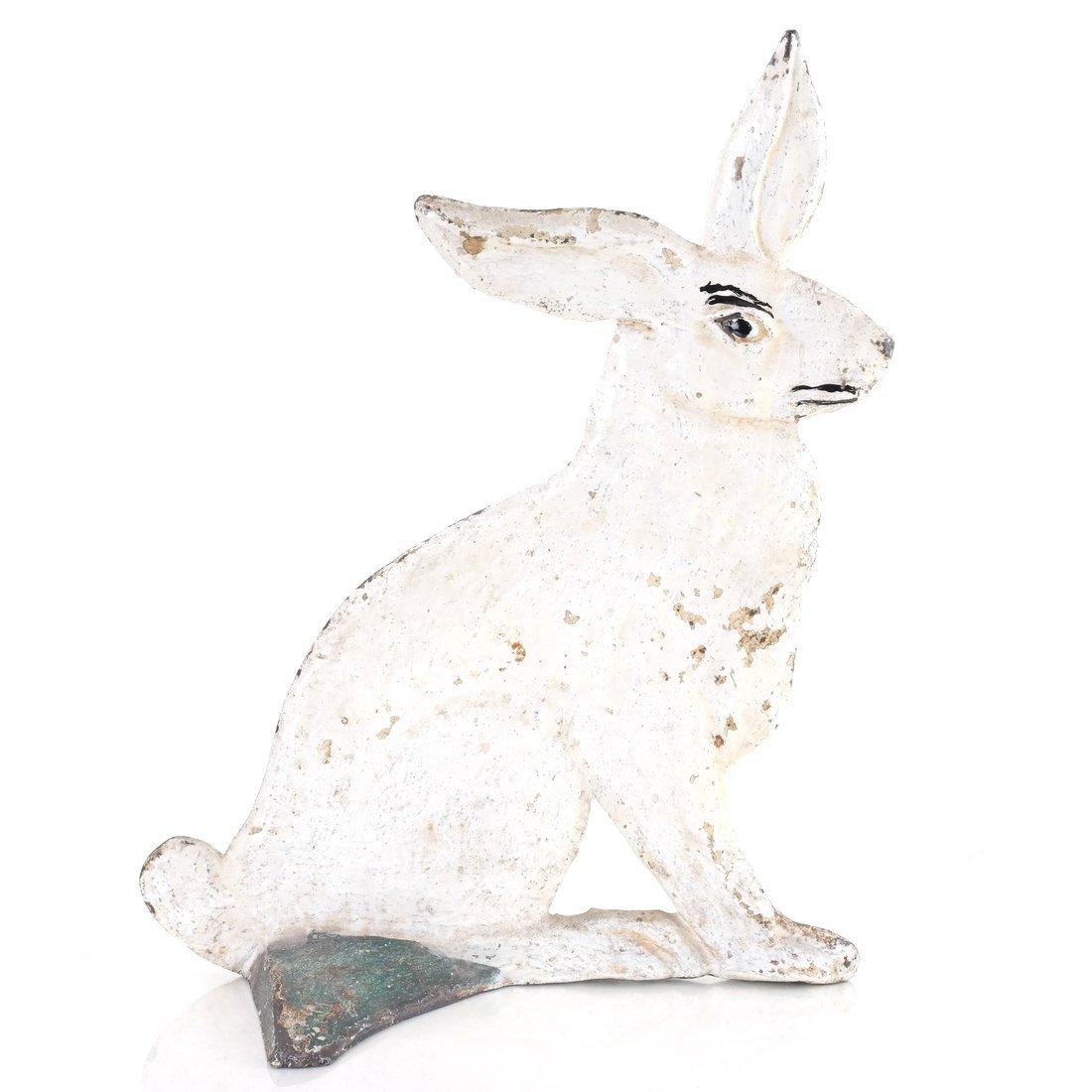 Painted Cast Iron Rabbit Doorstop