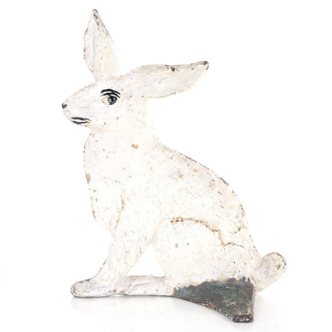 Painted Cast Iron Rabbit Doorstop - 2