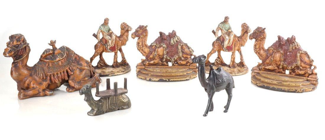 Seven Cast Metal Camel Figures