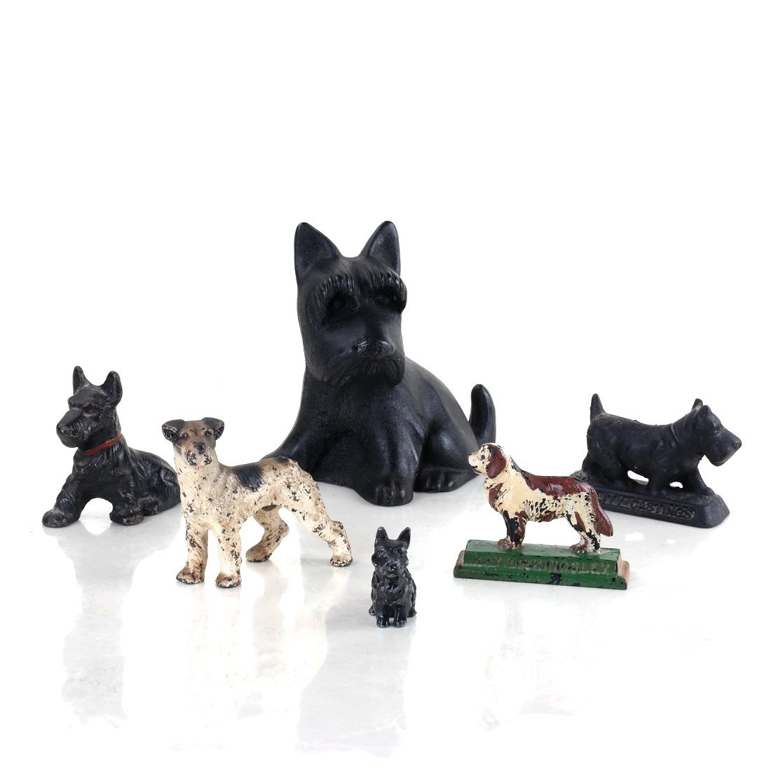 Six Painted Cast Iron Various Dogs