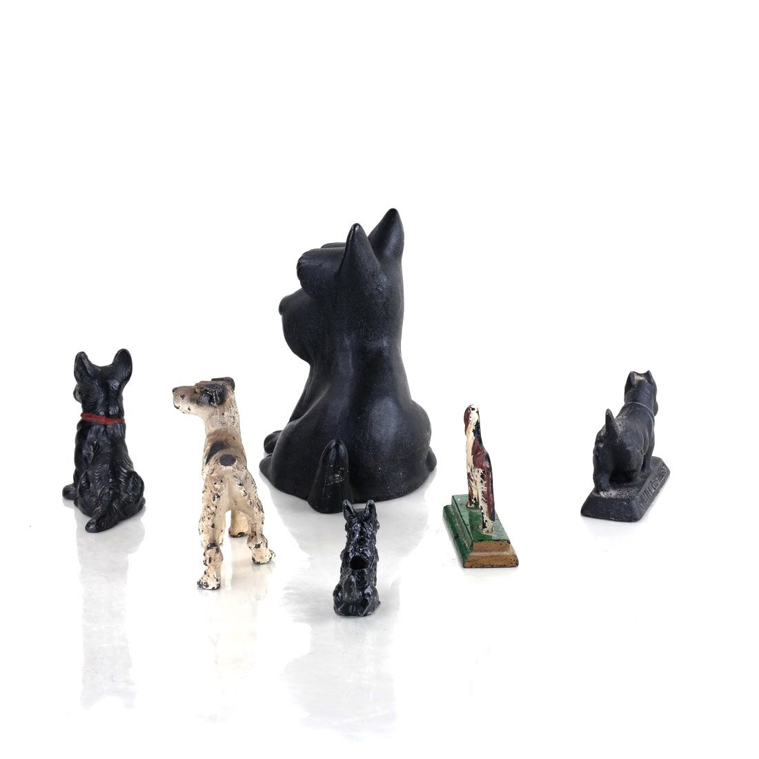 Six Painted Cast Iron Various Dogs - 2