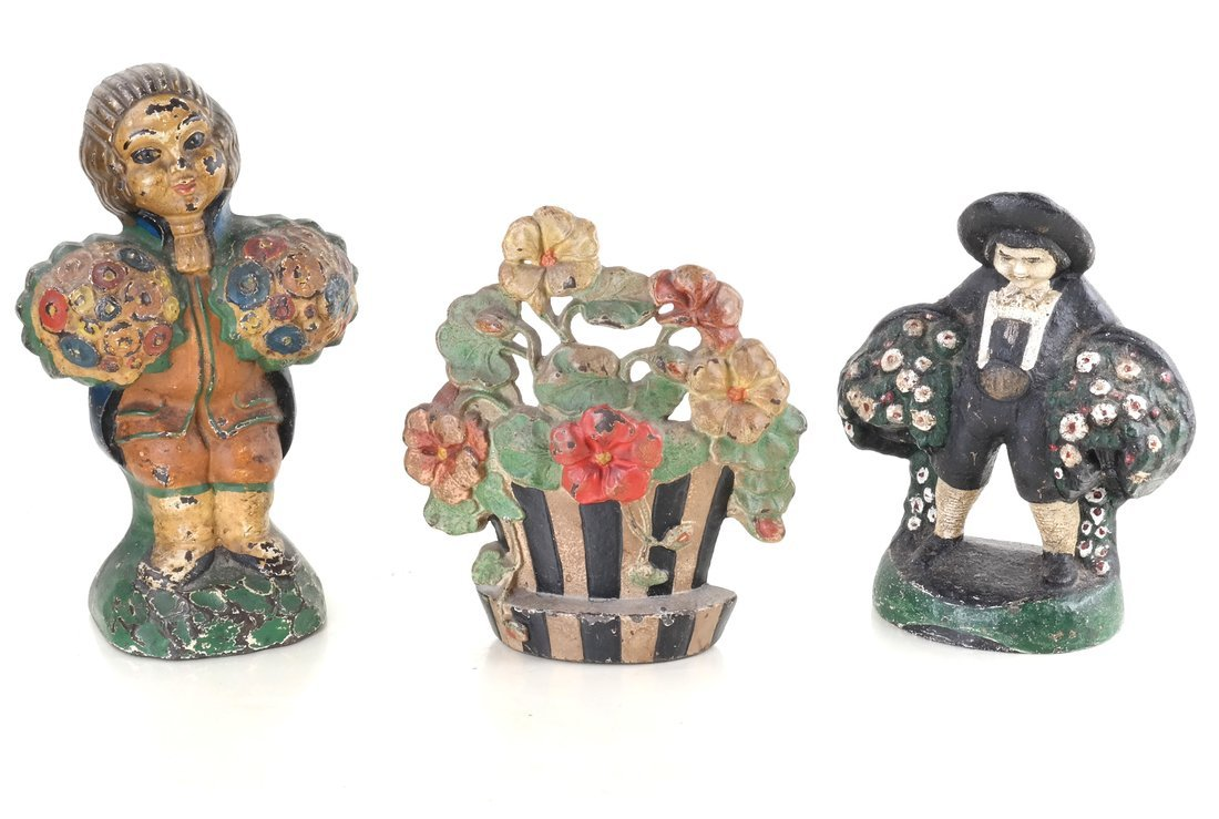 Three Painted Cast Iron Floral Items