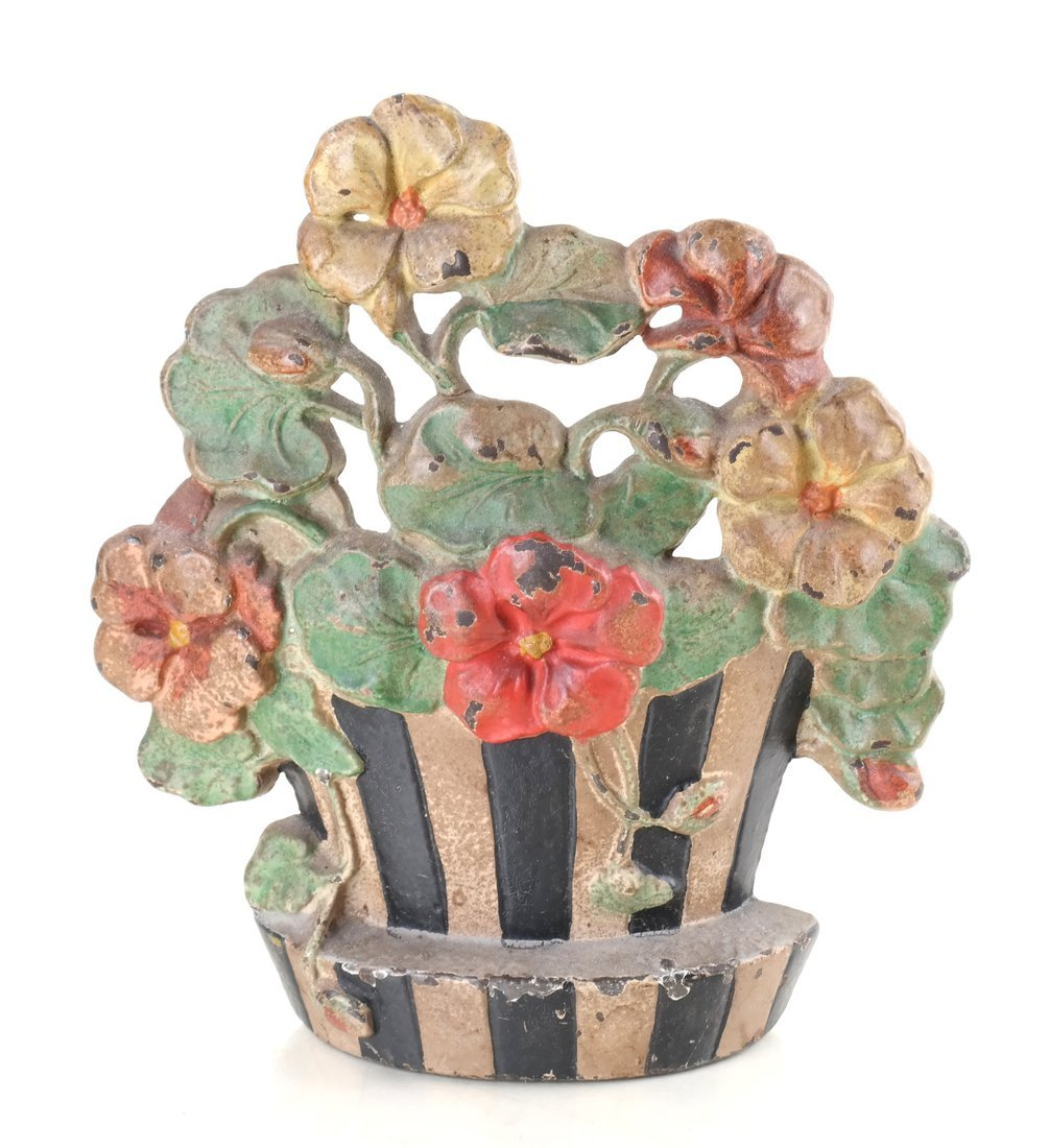Three Painted Cast Iron Floral Items - 7